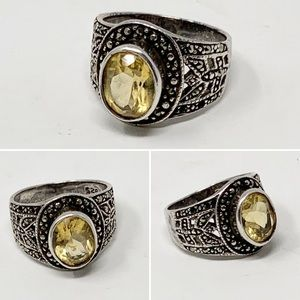 VTG Art Deco Citrine Sterling Silver Ring